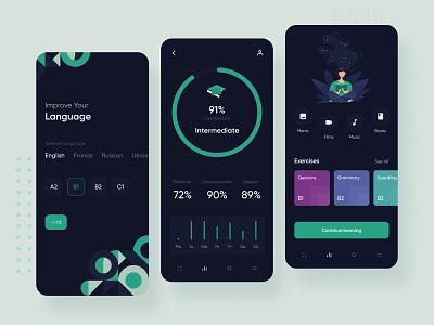 Language courses app mobile ux ui inspiration interface app design english statistic illustration green courses language