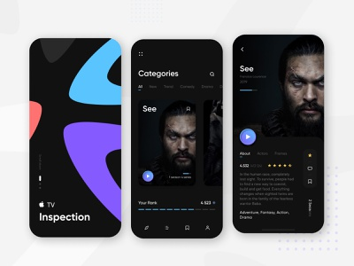 I TV app films and movies daily ui creative illustration inspiration ui ux mobile ui interface mobile watch tv cinema films movies design app