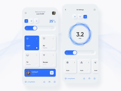 Neumorphism Smart Home app vector illustration mobile interface inspiration ux ui design neumorphism app smart smarthome