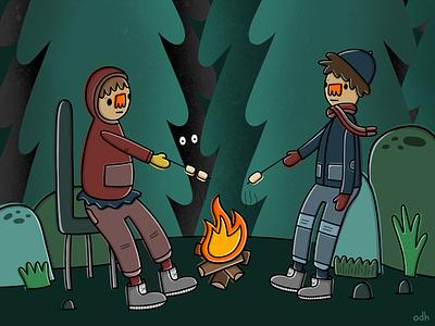 Happy Campers illustrator art friends fire nature camping digital art digital sketchbook illustration