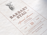 Barbary Stag Whiskey Label