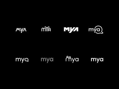 Mya Systems - Logo Explorations digital stamp illustration vector typography monogram icon visual exploration visual  identity design brand brand mark wordmark logo