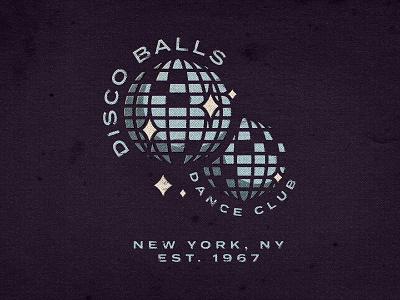Disco Balls Dance Club dance disco vintage retro texture branding design branding agency typography monogram visual design illustration logo icon branding