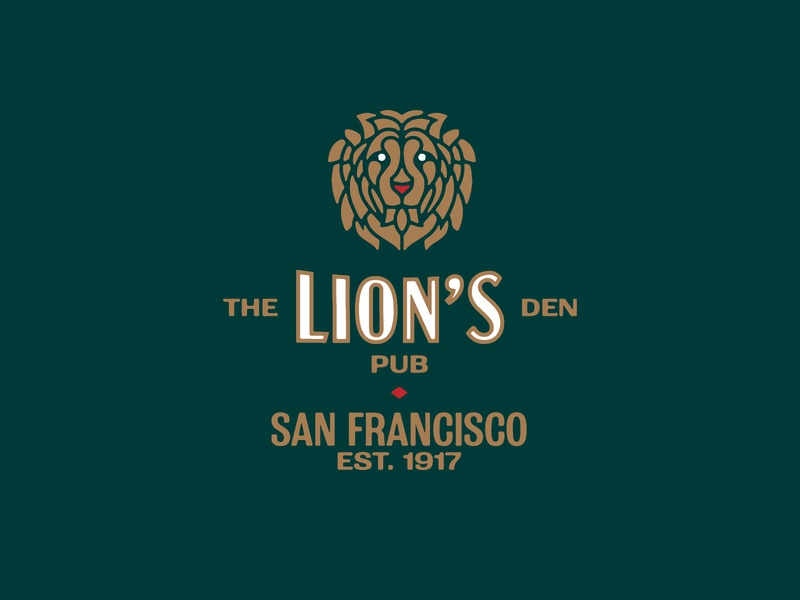 The Lion's Den Pub san francisco typography alcohol hospitality bar pub lion icon monogram brand and identity branding logo