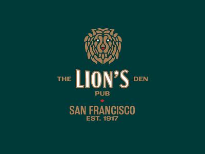 The Lion's Den Pub san francisco typography alcohol hospitality bar pub lion icon monogram brand and identity branding logo