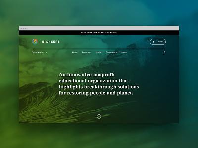 Bioneers - Homepage website digital product digital landing page homepage ux  ui web