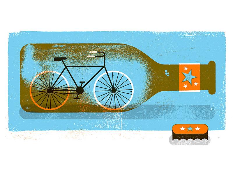 Bike in bottle  texture illustration