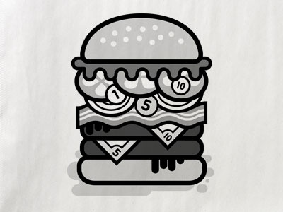 """Cheese"" Burger illustration burger seed bun lettuce tomato coins onions bacon patty"