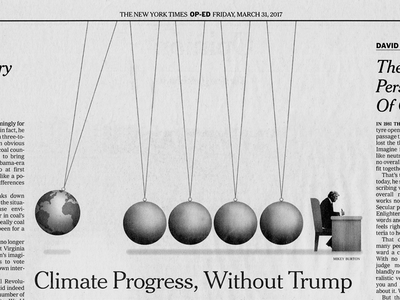 Climate Progress, With or Without Trump editorial illustration
