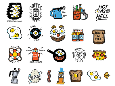Bunch of brunch icons stickers texture illustration