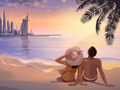 Couple in Dubai burj al arab building uae beach skyline dubai city cute fashion cartoon 2d illustration