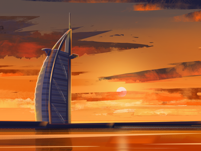 Burj Al Arab in Grunge illustration 2d city skyline grunge burj al arab building uae beach dubai
