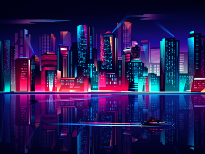 Glow night skyline illustration 2d city skyline urban neon yacht sea glass megapolis