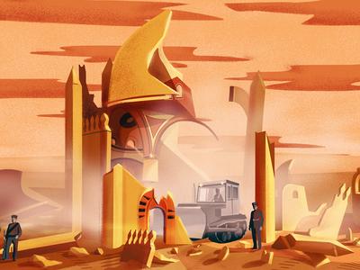 Al-Baqi temple demolition architecture column building shine temple illustration 2d desert