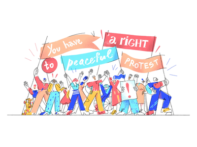 Peaceful protest: main page banners crowd protest rights procreate 2d ipad pro illustration