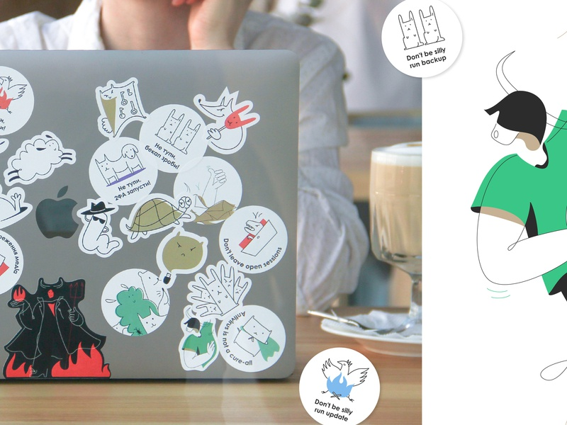 Yak: side character and stickers two factor authentication 2fa phishing backup auto-save open sessions account recover sign-in sign-in notification applications control hare catdog iconset icons yak stickers sticker