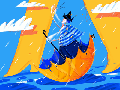 Little Pirate Of A Rainy Days umbrella pirate rain ipad pro illustration procreate character legs clouds