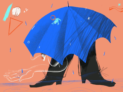 Fall rainy days guy glasses 30daychallenge challenge umbrella drops frog hand procreate ipad pro 2d illustration rain