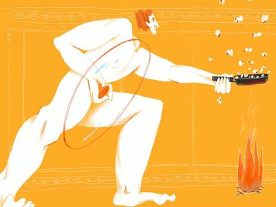 Poem about popcorn pan roma rome greece greek fire hand character procreate ipad pro 2d illustration
