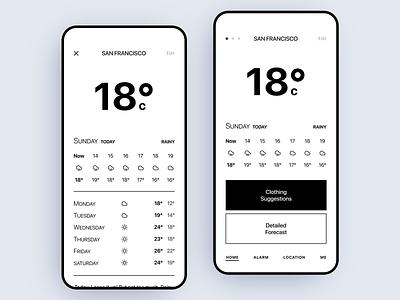 Weather App Concept Design clean app identity minimal branding ui ux black and white minimalist app design weather forecast weather app weather
