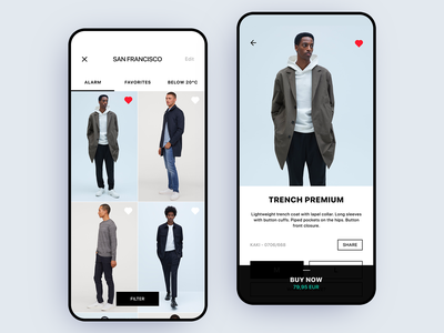 Weather-Based E-Commerce uidesign minimalist identity minimal branding clothing app clothing app design ecommerce app ecommerce weather app weather