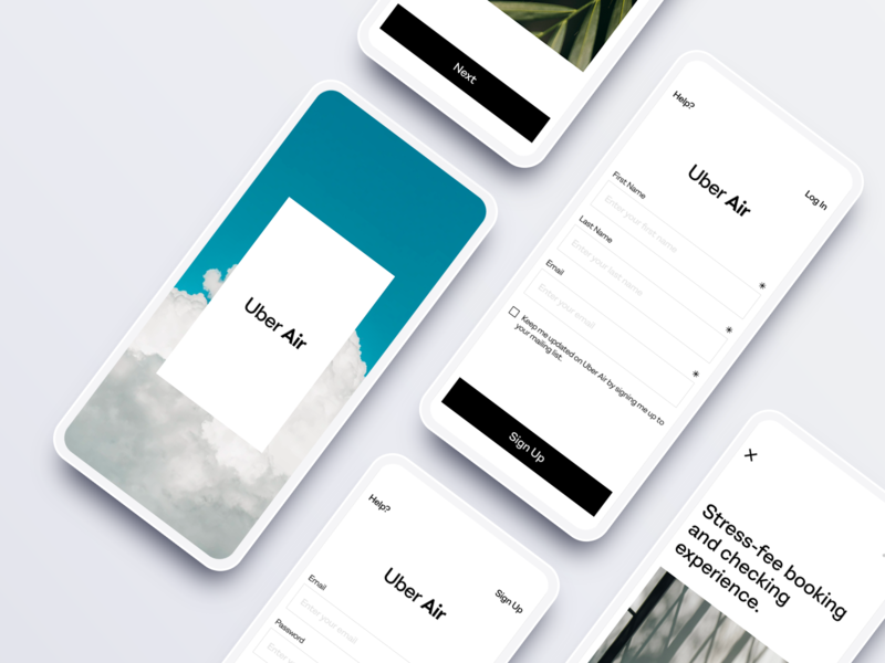Uber Air - Concept Design app clean identity minimalist uidesign log in page sign up page travel design app design uber air uber design uber