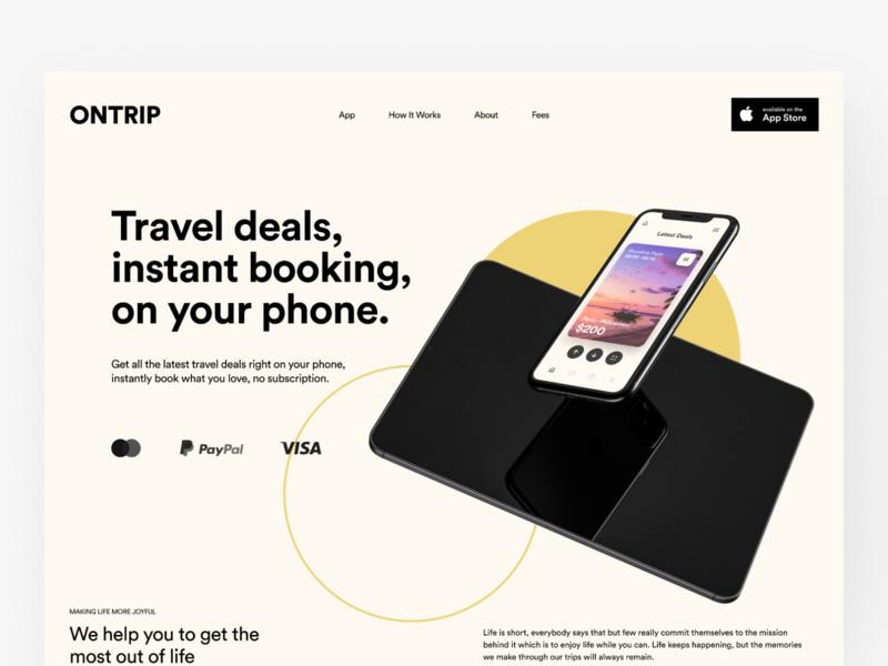 ONTRIP - Landing Page Design minimalist identity branding travel app user interface website design website ux ui uiux webdesign web typography homepage landing page design landing page travel