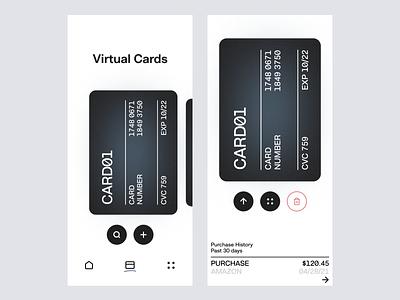 Mobile Virtual Cards App typography finance app minimal ui app finance financial interface uiux uidesign ux wallet ui ios bankingapp banking app wallet app fintech mobile app mobile ui app design