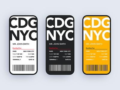 Boarding Pass Design 024 dailyui app design minimalist identity branding ux ui uidesign minimal design clean boarding pass
