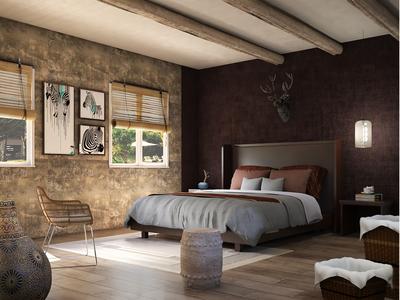Safari Resort Bedroom Interior, South Africa.