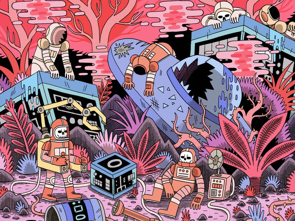 Chaos ufo science fiction sci fi digital art pop culture astronaut space drawing digital illustration