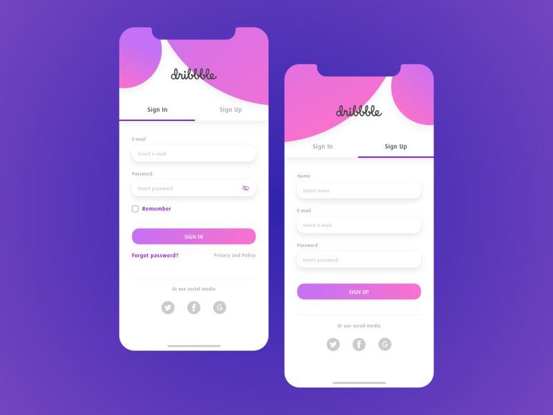 Sign In - Sign Up mobile design first design first shot dribbble sign up sign in page app branding ui