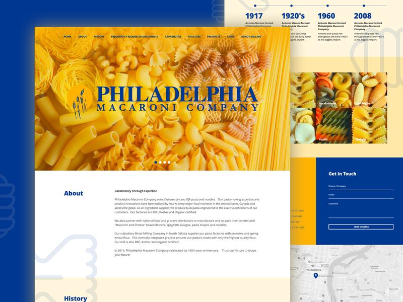 Pasta Company - Landing Page landing landingpage landing page website clean clean design blue yellow minimalistic pasta web design web ux ui design