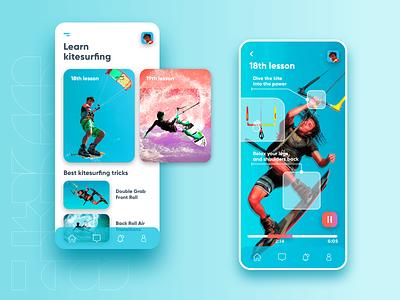 Kitesurfing Course App mobile design mobile app surfing surf watercolour water sport blue app mobile app design design ux ui kite kiteboarding kitesurfing kitesurf