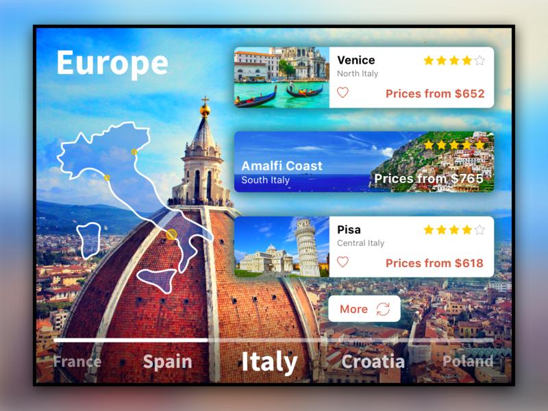 Travel Application - Europe sketch europe map journeys travel trip app design web design app web ux ui design