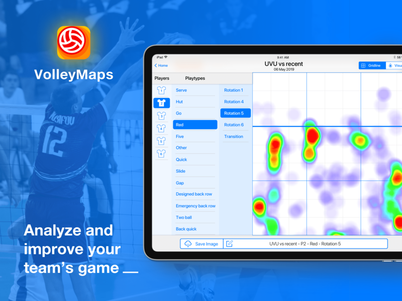VolleyMaps - IOS application for analysing volleyball team play united states states america usa ipad tablet ios logo sport analyse volleyball team play heatmap analysis app design app ux ui design
