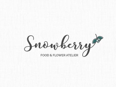 Snowberry logo design elegant font logotype handwritten berry feminine graphic design logo design logo design