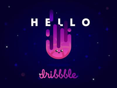 Hello Dribbble! gradient planet space graphic design design