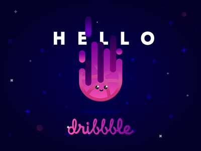 Hello Dribbble! gradient planet space graphic design design