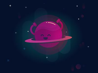 Dancing planet gradient gradients ui vector art vector stars illustrator illustration graphic design design space planet