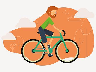 Bike Rider modern design flat minimal graphic design riding bike ride vector art vector illustrator art clouds illustrator illustration bicycle bike