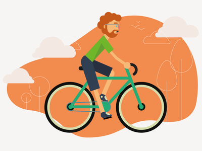 Bike Rider modern design flat minimal graphic design riding bike ride vector art vector illustrator art clouds illustrator illustration bicycle bike