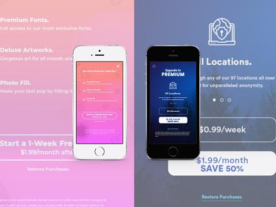 Paywall Tests illustrator design graphic ui web  design app design uxdesign ui design safe-fi fontsie paywall