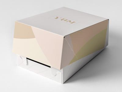 YUM Bakery Cakebox package mockup logo pastel colors branding package design
