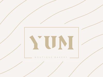 YUM Bakery Logo Sign deconstructed type typography bakery logo pastel colors branding logo signage