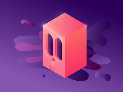 Totenkopf perspective illustration purple pink skull illustrator isometric