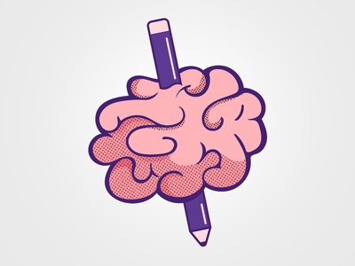 Creative Pain brain pink design logo illustrator illustration