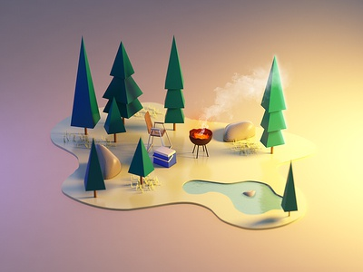 Recreation low poly forest landscape camping lowpoly c4d cinema4d 3d