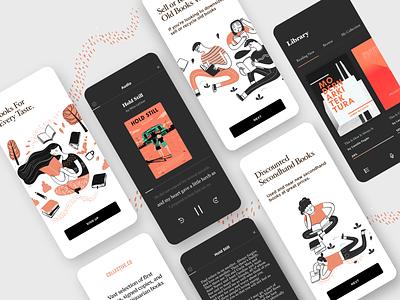 Book App buy read ebook book vector illustration mobile ui design app minimal