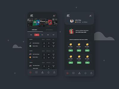 Sports betting App dark darkui betting sports mobile ui design app minimal